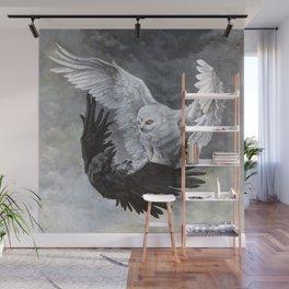Yin Yang Owl and Raven Wall Mural