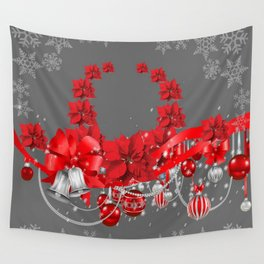 POINSETTIAS FLOWER SNOWFLAKES WREATH DECORATIONS Wall Tapestry