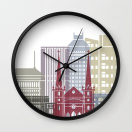 Fresno skyline poster Wall Clock
