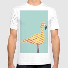 Stripes Flamingo Mens Fitted Tee MEDIUM White
