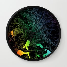 Leipzig Germany City Map Rainbow City Map Art Print Wall Clock
