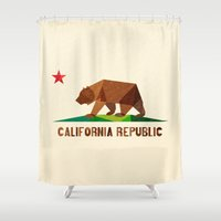 leather Shower Curtains featuring California by Fimbis