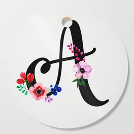 Letter A Watercolor Floral Background Cutting Board