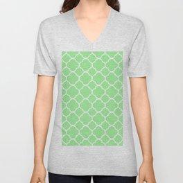 Lime Green Quatrefoil Unisex V-Neck