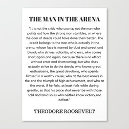 The Man In The Arena Speech Theodore Roosevelt Canvas Print