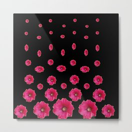 CERISE PINK HOLLYHOCKS  LOVERS BLACK PATTERNED ART Metal Print