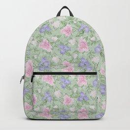 Flower Play Pink Lavender Green Antique Look Medium Backpack