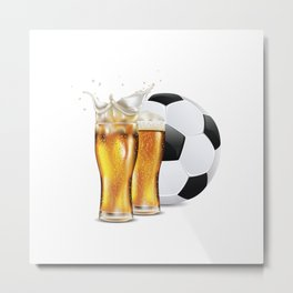 Two Glasses of beer and soccer ball Metal Print