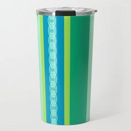 Mid-Century Awning Stripes, Jade Green and Blue Travel Mug