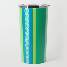 Mid-Century Awning Stripes, Jade Green and Blue Travel Mug