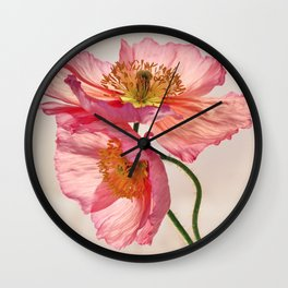 Like Light through Silk - peach / pink translucent poppy floral Wall Clock