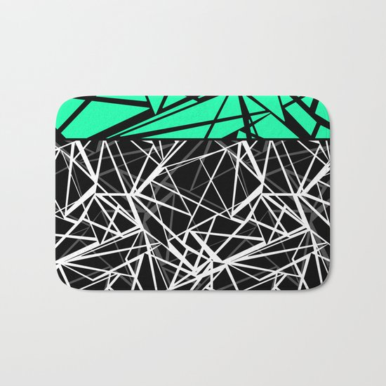Black and white abstract geometric pattern with green insert . Bath Mat