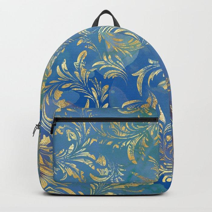 Blue Gold Swirls #2 Backpack