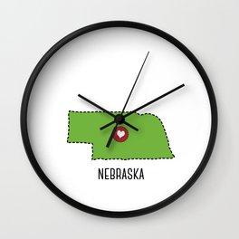 Nebraska State Heart Wall Clock