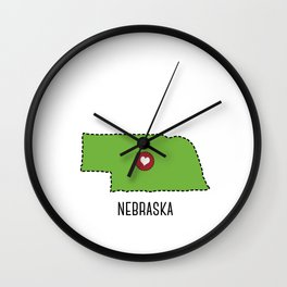 Nebraska State Heart Wall Clock