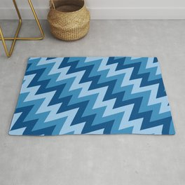 Geometric Chevron Zig Zag Pattern in Classic Blue Turquoise Ombre Rug