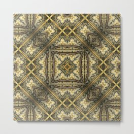 Victorian Art Deco Medieval Pattern golden brown SB30 Metal Print