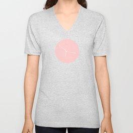 Cancer Star Sign Soft Pink Circle Unisex V-Neck