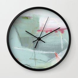 Full Speed - abstract painting pink, white gray, teal Wall Clock