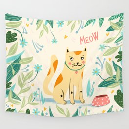 Meow cat Wall Tapestry