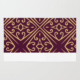 Decorative Floral Pattern 7 - Loulou Purple Red, Old Gold Rug