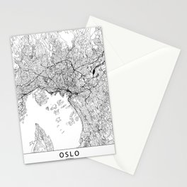 Oslo White Map Stationery Cards