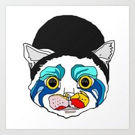 Ga Ga Cat Head Art Print