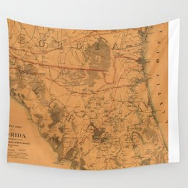 Vintage Map of Northern Florida (1864) Wall Tapestry