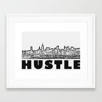 hustle Framed Art Prints featuring HUSTLE by BACK to THE ROOTS