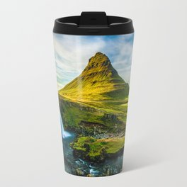 Triple waterfalls of Kirkjufell in Iceland I Travel Mug