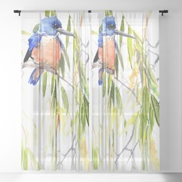 KIngfisher and Weeping Willow Sheer Curtain