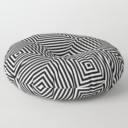 Square Optical Illusion Black And White Floor Pillow