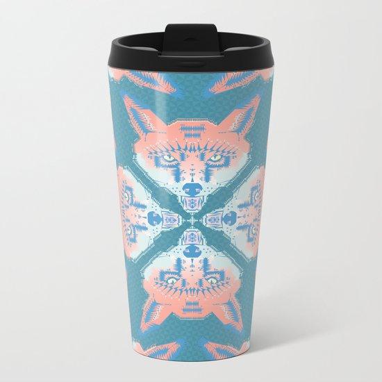 Pastel Fox Pattern Metal Travel Mug