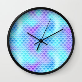 Mint Blue Mermaid Tail Abstraction. Cool Fish Scale Pattern Wall Clock