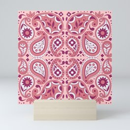 Pink and White Paisley Pattern Flowers Tear Drops Abstract Design Mini Art Print
