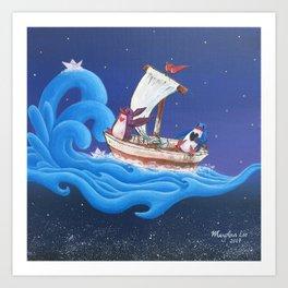 Penguins Dream and Desire Sailing Through the Ocean in the Stars Art Print