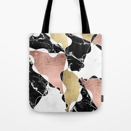 Modern white black marble rose gold foil color block handdrawn geometric lines Tote Bag