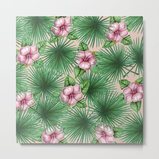Jungle Love, Palm Leaves And Hibiscus Pink Metal Print