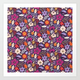 Boho Floral Pattern with Gold Accents Art Print
