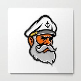 Seadog Sea Captain Head Mascot Metal Print