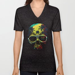 Summer Skull - Say yes to new adventures Unisex V-Neck