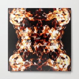 Electrifying orange sparkly triangle fire flames Metal Print