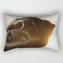 The silhouette of a Buddha head in Sunrise Rectangular Pillow