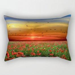 Poppy Fields at Sunrise Photographic Landscape Rectangular Pillow