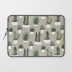 Watercolour cacti & succulents - Beige Laptop Sleeve