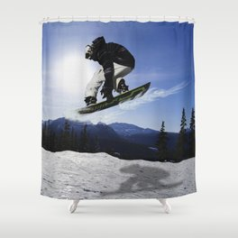 Born To Fly Snowboarder & Mountains Shower Curtain