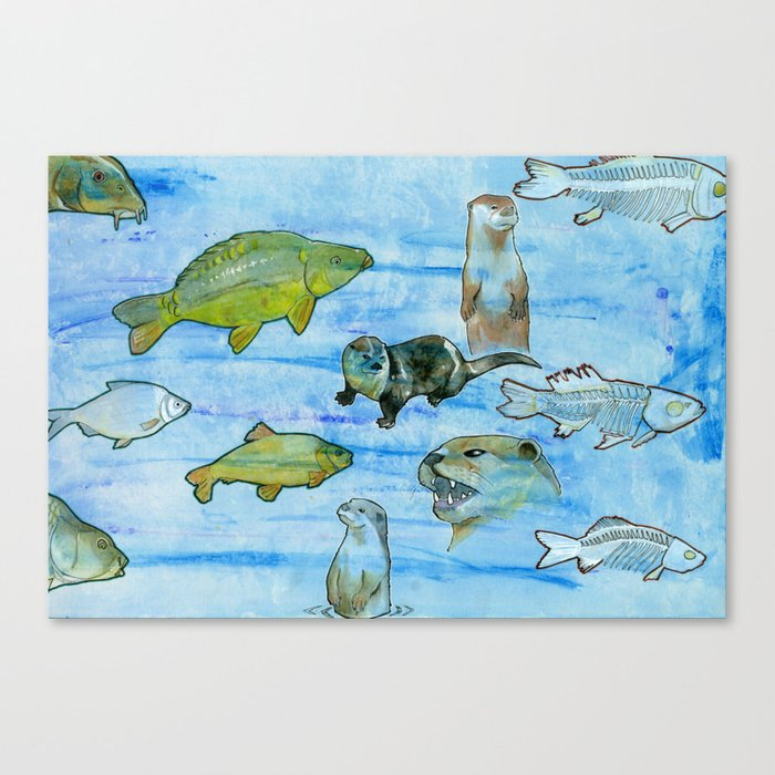 Otters and Carp Canvas Print