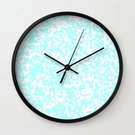 Small Spots - White and Celeste Cyan Wall Clock