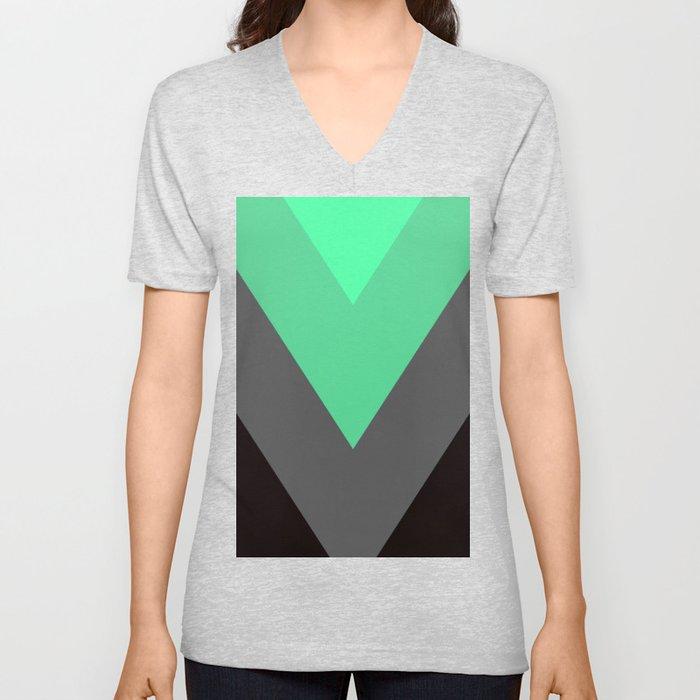 Mint Green Gray Chevron Stripes Unisex V-Neck