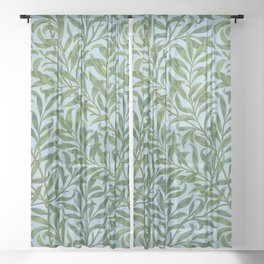 William Morris Willow Bough and Leaves Textile Floral Pattern Sheer Curtain